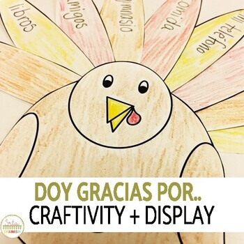 Spanish Thanksgiving Writing Activity Craft and Classroom Display