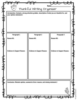 Thanksgiving Writing Activity with Editable Google Digital Template