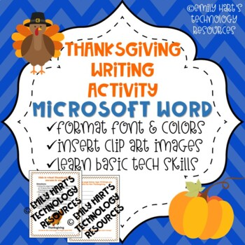 Thanksgiving Writing Assignment Using Microsoft Word