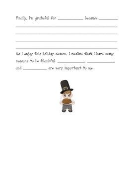 Thanksgiving Writing Assignment- What I'm Thankful For