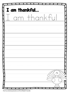 Thanksgiving Writing Center - Vocabulary Cards, Writing Prompts