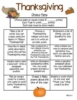 Thanksgiving Writing Choice Menu: ELA Literacy Station & More CCSS