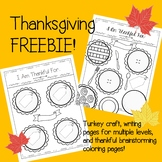 Thanksgiving Writing Freebie- Thankfulness Writing and Tur