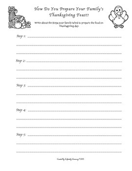 Thanksgiving Writing - How do you prepare your Thanksgiving feast?