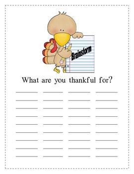 Thanksgiving Writing: I Am Thankful