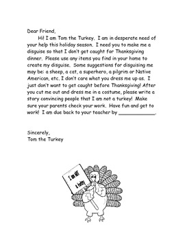 Thanksgiving Writing: I am NOT a turkey!