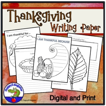 Thanksgiving Writing Paper - Print and Go