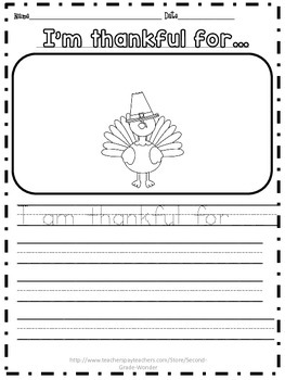 Thanksgiving Writing I'm thankful for Kinder and First Grade
