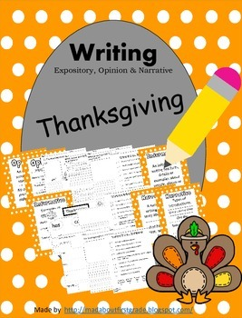 Thanksgiving Writing Informative Opinion Narrative CCSS