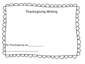 Thanksgiving Writing/ It's All About the Family