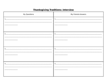 Thanksgiving Writing Journal