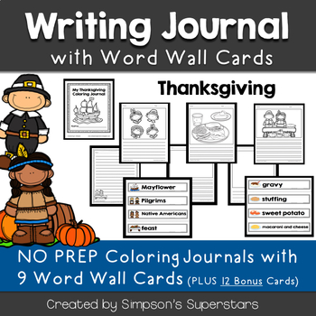 Thanksgiving Writing Journal with Word Wall Cards