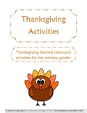 Thanksgiving: Writing, Math, Vocabulary Printables