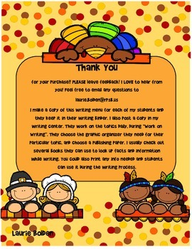 Thanksgiving Writing Menu with Graphic Organizers and Paper. Freebie Included!