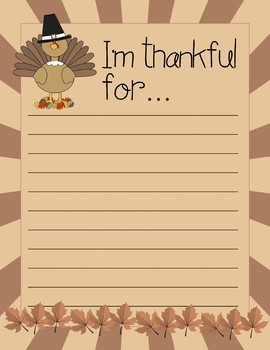 Thanksgiving Writing Paper - 15 total