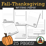Thanksgiving Fall Autumn Writing Paper for Elementary Classroom