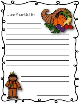 Thanksgiving Writing Paper ~ I am thankful for