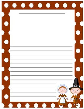 FREE Thanksgiving Writing Paper - Pilgrims and Natives