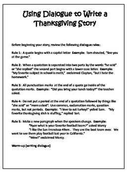 Thanksgiving Writing Project - Using Dialogue