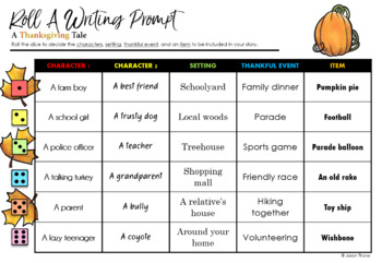 Thanksgiving Roll-A Writing Prompt