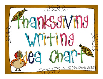 Thanksgiving Writing Prompt Chart