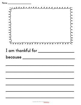 Thanksgiving Writing Prompt - I am Thankful for...