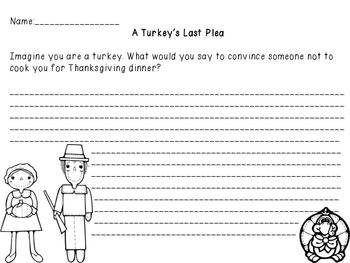 Thanksgiving: Writing Prompt Stationery-A Turkey's Last Plea