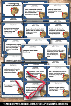 Thanksgiving Writing Prompts Task Cards Thanksgiving Literacy Centers Activities