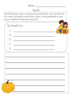 Thanksgiving Writing Prompts- 10 Days of Thanks!