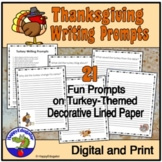 Thanksgiving Writing Prompts Turkey Theme on Decorative Lined Paper