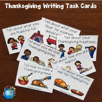 Thanksgiving Writing Task Cards and Graphic Organizers