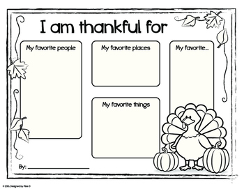 Thanksgiving Writing Pages: I Am Thankful for...