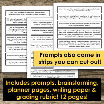 Thanksgiving Writing Prompts, Planning Pages and Rubric