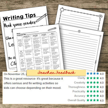 Thanksgiving Writing Prompts, Planning Pages & Rubric (US & CDN Thanksgiving)
