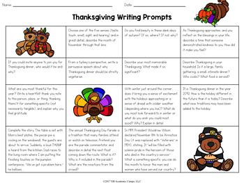 Thanksgiving Writing Prompts Choice Board for Middle School
