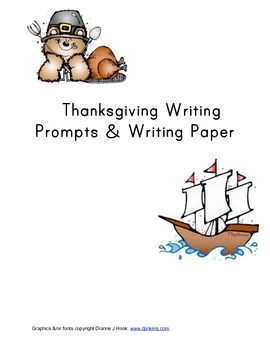 Thanksgiving Writing Prompts- DJ Inkers Clipart