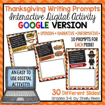 Thanksgiving Writing Prompts - Interactive Digital Google Version