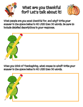 FREEBIE! Thanksgiving Writing Prompts - Narratives, Editable in Google Slides!