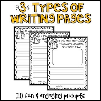 Thanksgiving Writing Prompts & Page Topper Craftivities