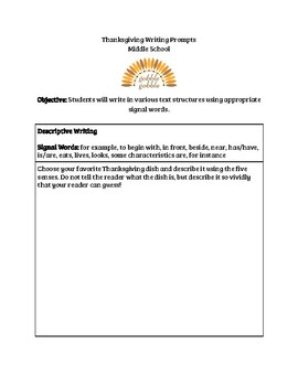 Thanksgiving Writing Prompts Using Text Structures