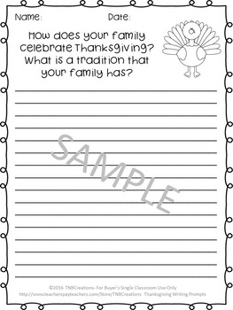 Thanksgiving Writing Prompts Worksheets