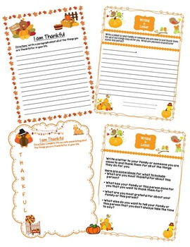 Thanksgiving Writing Prompts, Poems, Letters, Journals, & Stories