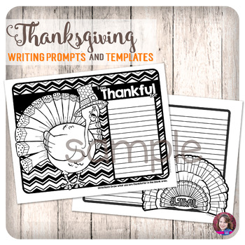 Thanksgiving Writing Prompts and Writing Papers with Doodle Coloring activities