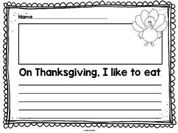 Thanksgiving Writing: Paper and Prompts for K,1,2