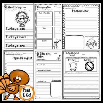 Thanksgiving Writing Prompts for Kindergarten, First Grade and Second Grade