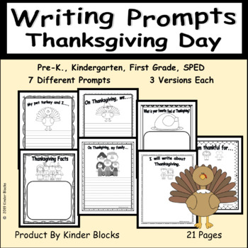 Thanksgiving Writing Prompts for Pre-K, Kindergarten, or First Grade #NewDeals