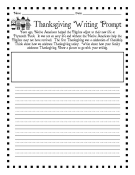 Thanksgiving Writing Prompts for Primary