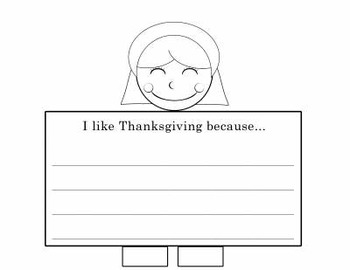 Thanksgiving Writing Prompts on a Foldable Craft - K-2