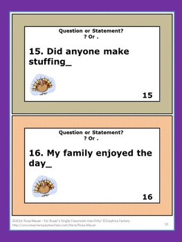 Question or Statement Thanksgiving  Task Cards