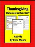 Thanksgiving Statement or Question Task Cards